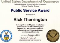 KD4JRX  NOAA PUBLIC SERVICE AWARD FOR 19 YEARS OF SKYWARN SERVICE AS ILM EC.
